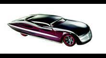 """Ford Gangster Grin i skala 1:64. Frontens """"bullett""""-utseende är hämtat från 1949 års Ford, medan designen överlag inspirerats av 1950-talets custombyggen."""
