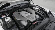 Skapligt pulver i lilla motorn. SL63 AMG har en V8 på 6,2 (!) l, 500 hk och 630 Nm.