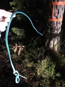 Någon har spännt upp vajer mellan träden för att skada de som kör enduro i området.