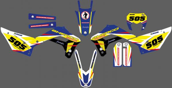 Det här är designskisserna på mitt egendesignade dekalkit för min Sherco 300. Vad tycks?