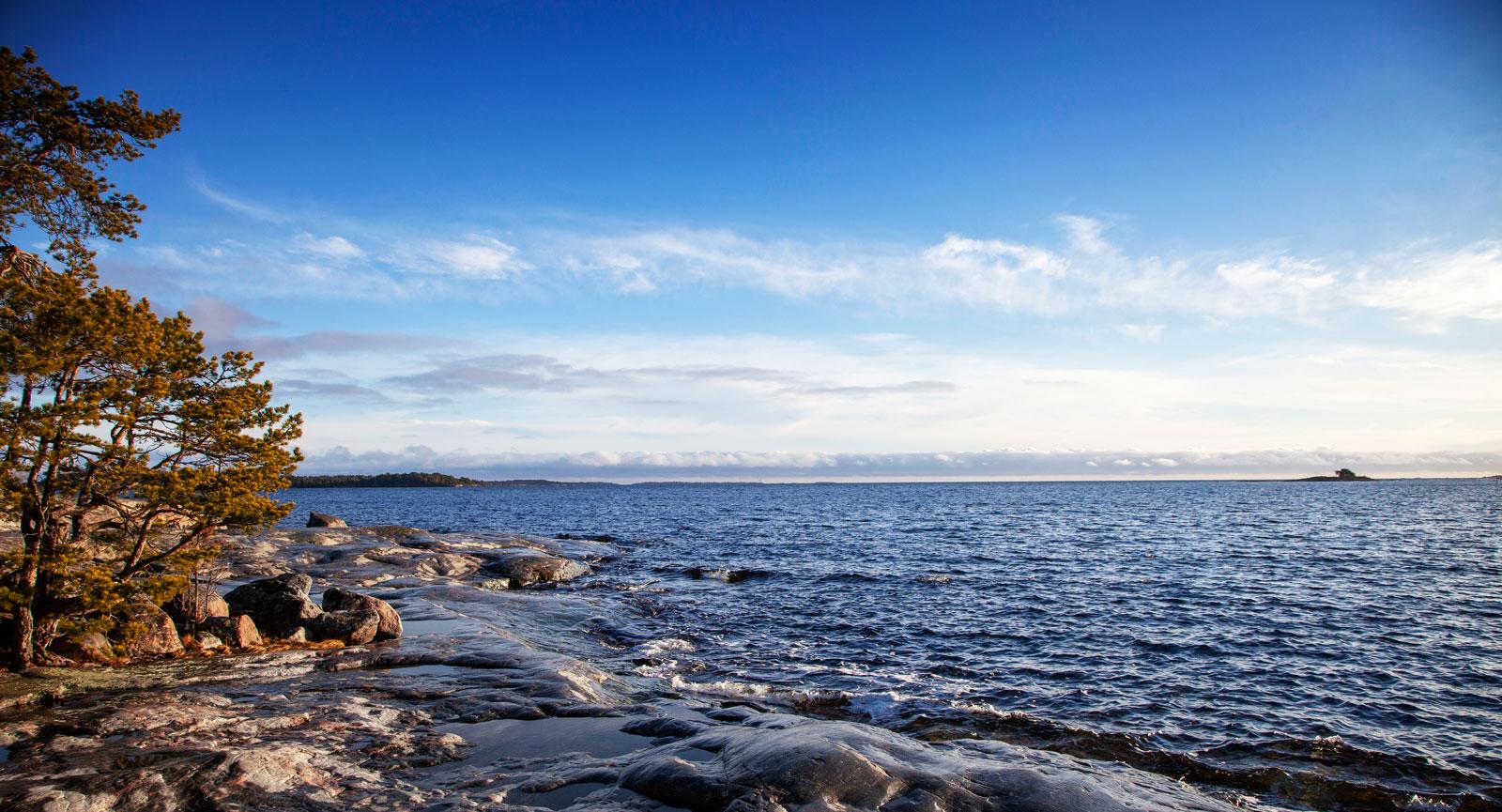Promenera ner till vattnet och se den fria horisonten i fjärran.