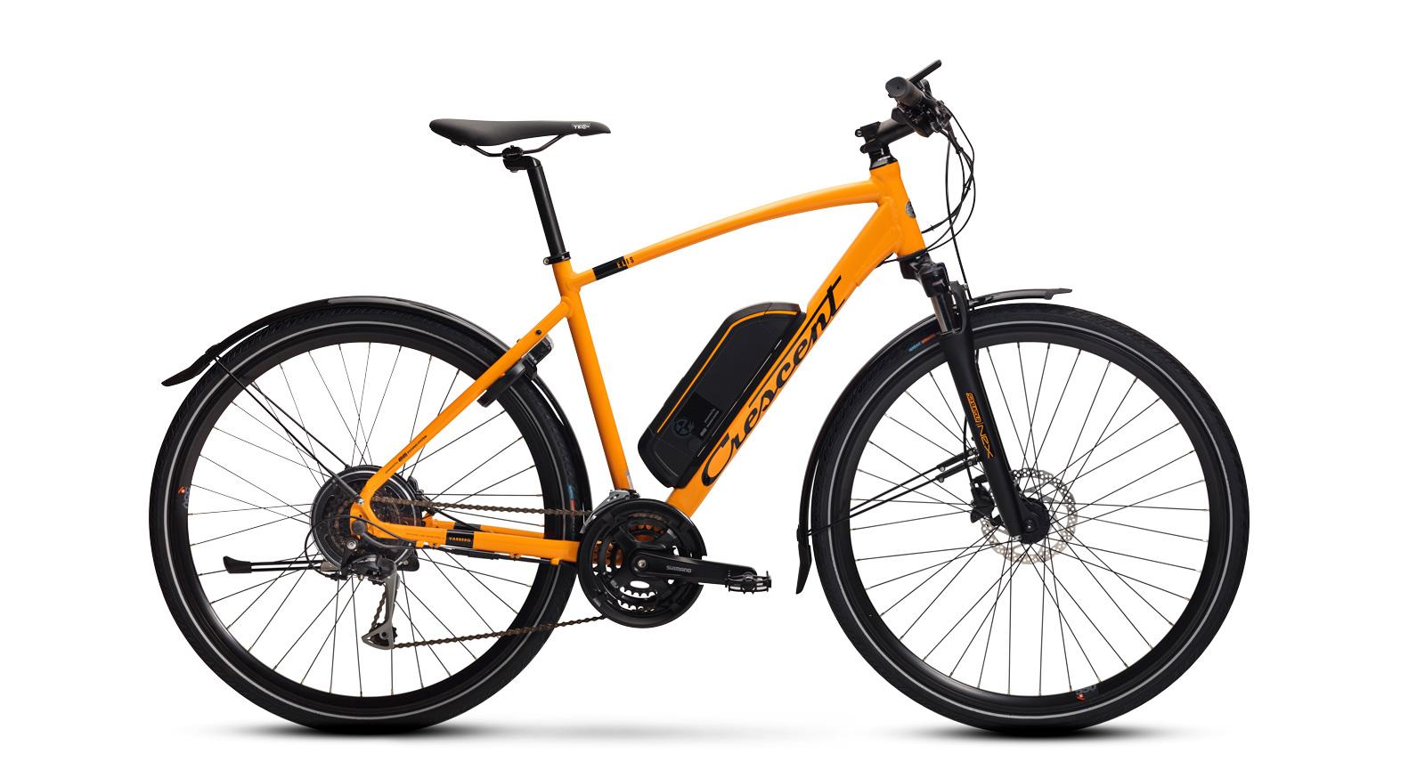 Sportig hybrid-elcykel med bakhjulsmotor; en rejäl skjuts framåt. Crescent Elis 24-vxl.