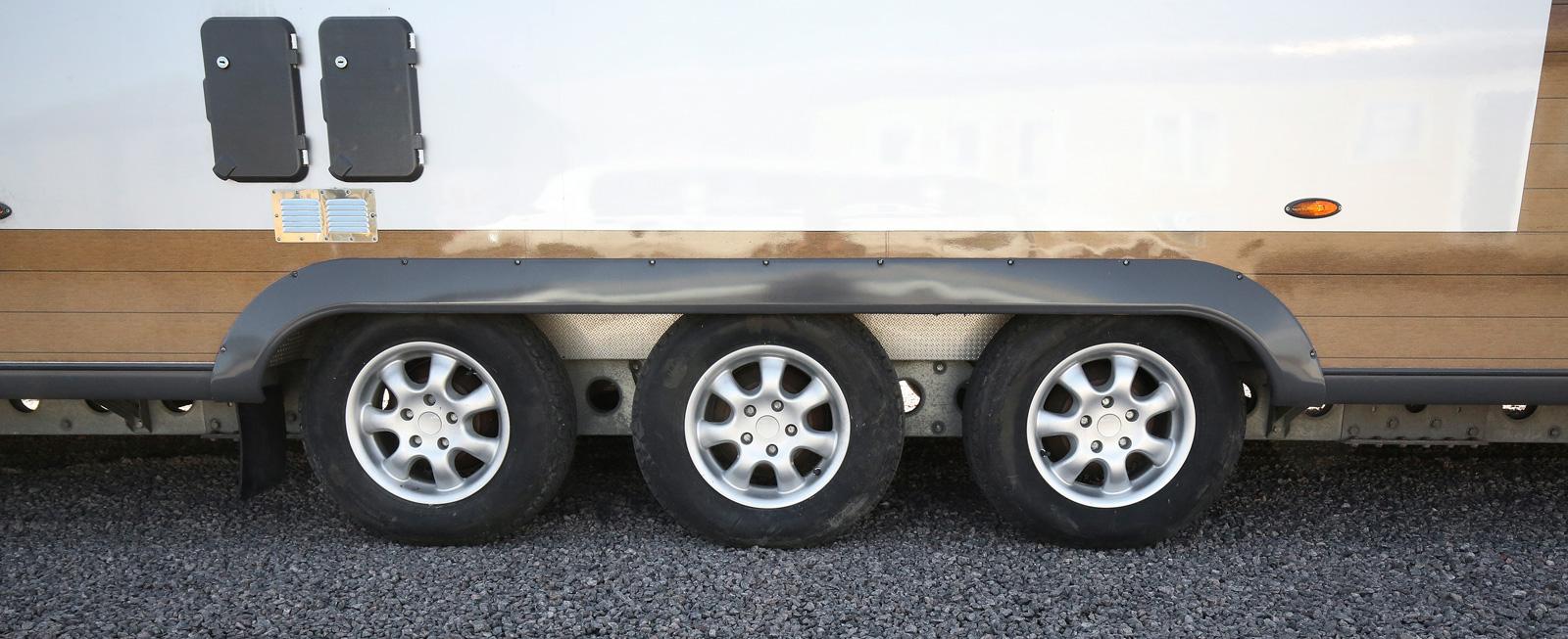 En lång husvagn har stor tyngd som fördelas på tre axlar.