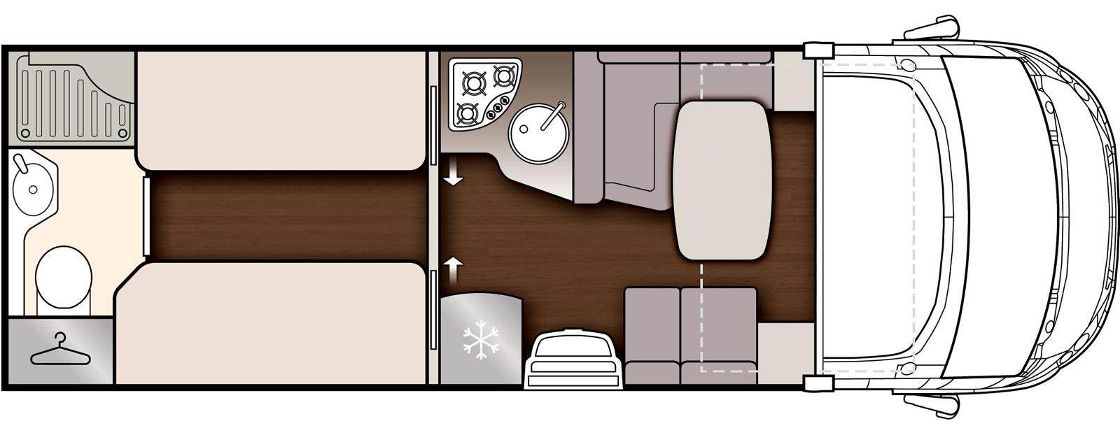McLouis Nevis – bäddar och badrum baktill
