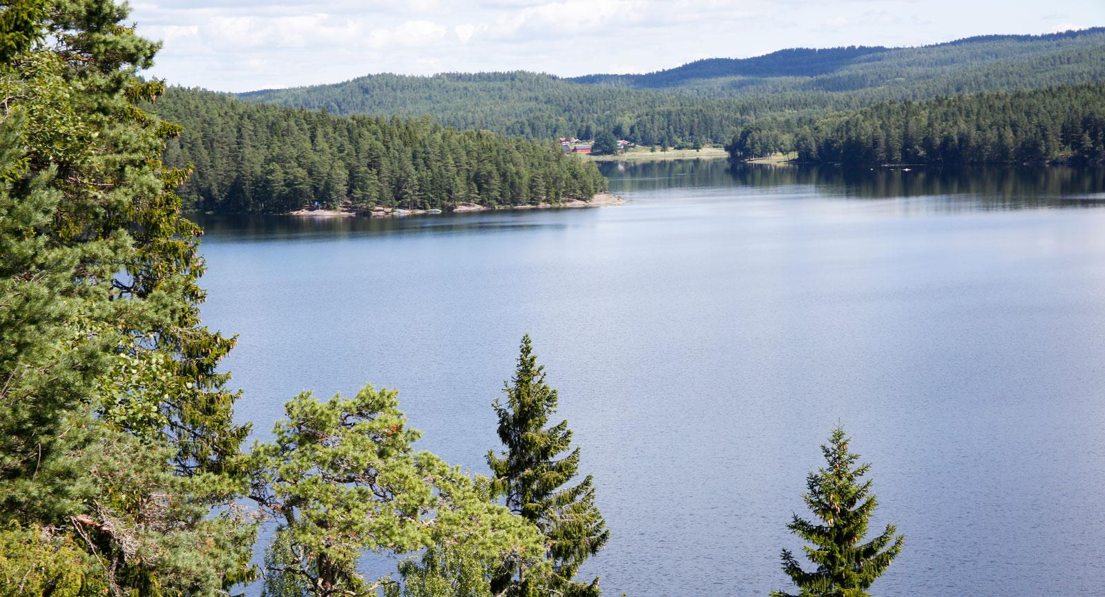 Sjön Svärdlången dyker upp på järnvägens östra sida.