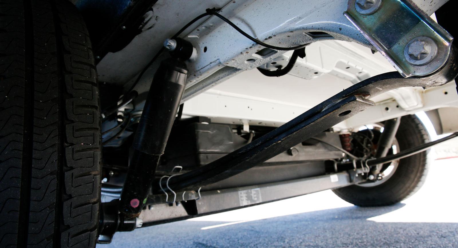 Fiat Ducatos lågbyggda campingchassi med bladfjädring.