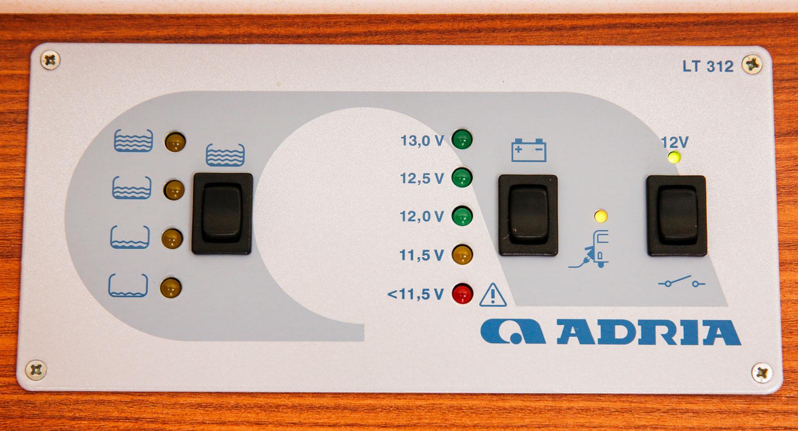 Manöverpanel som visar vattennivån och batterikapaciteten.