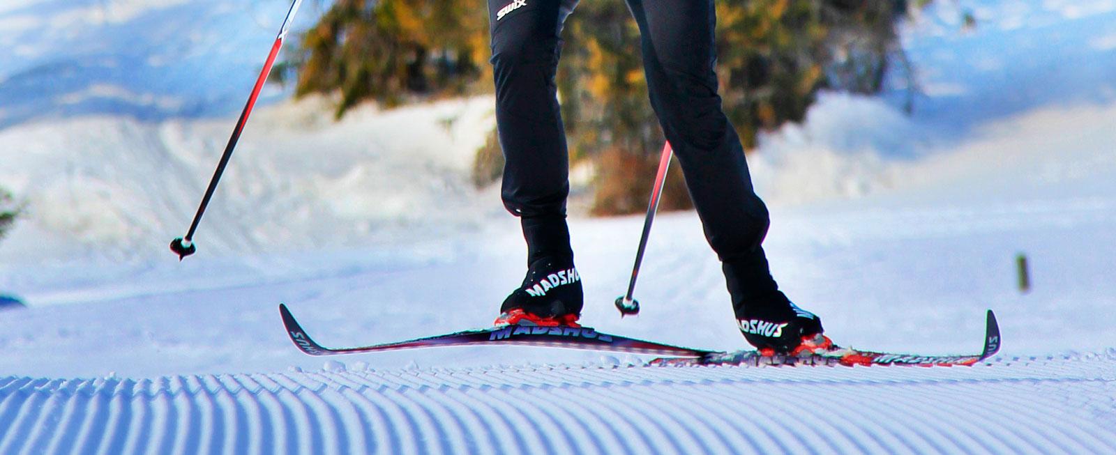 Nypistat. Skidspåren i Sjusjøen prepareras dagligen och håller tävlingsklass.