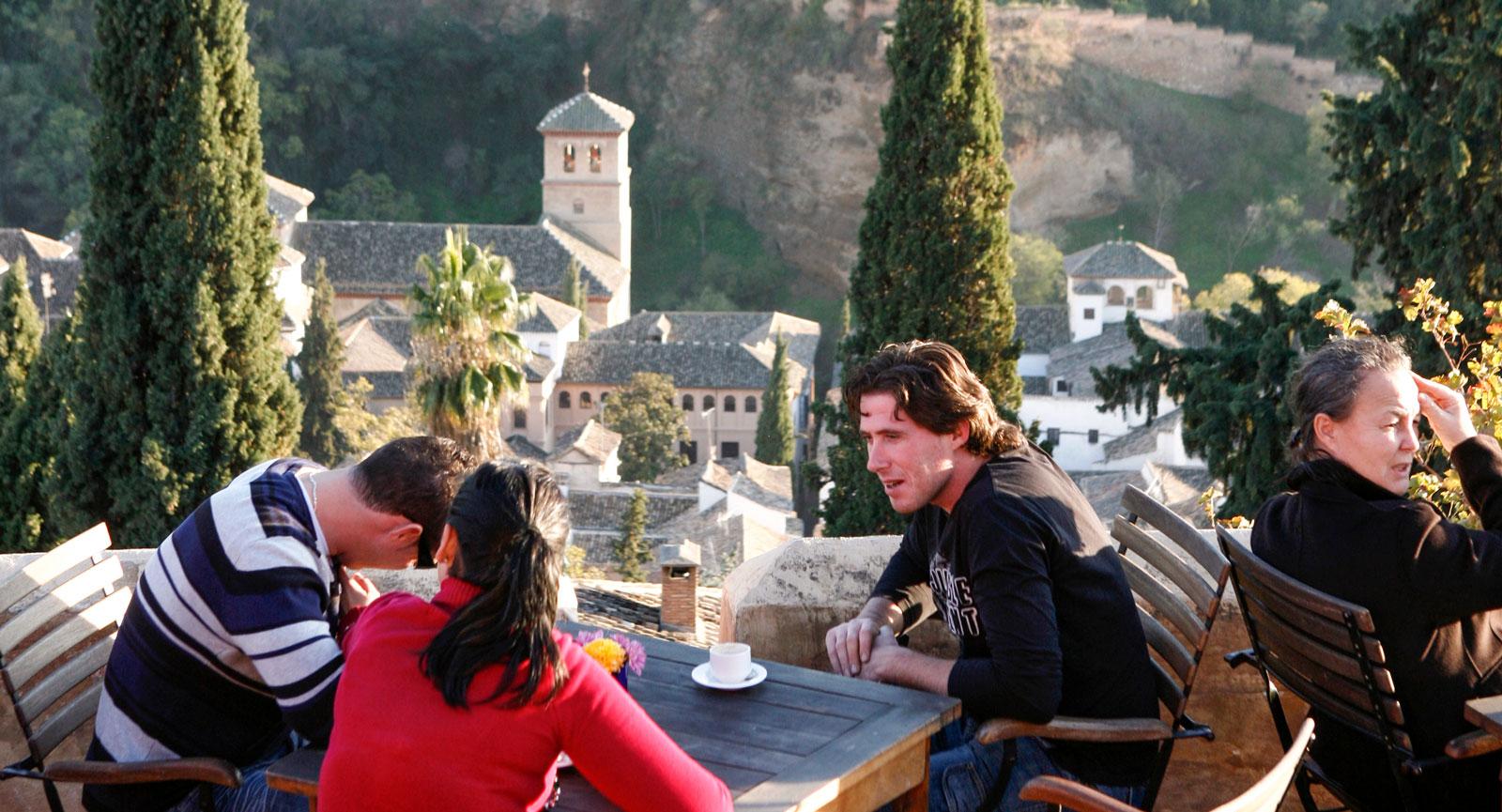 Restaurante-Bar Las Tomasas med härlig utsikt över Alhambra.