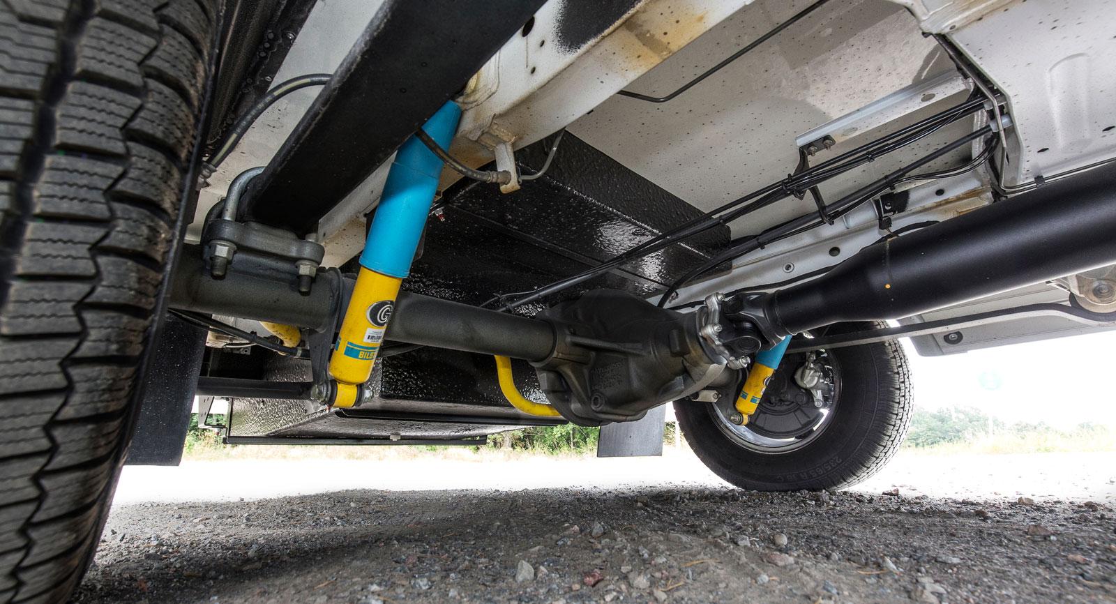 Bakhjulsdrift  är ofta en fördel på en husbil. Å andra sidan är det tyngre.