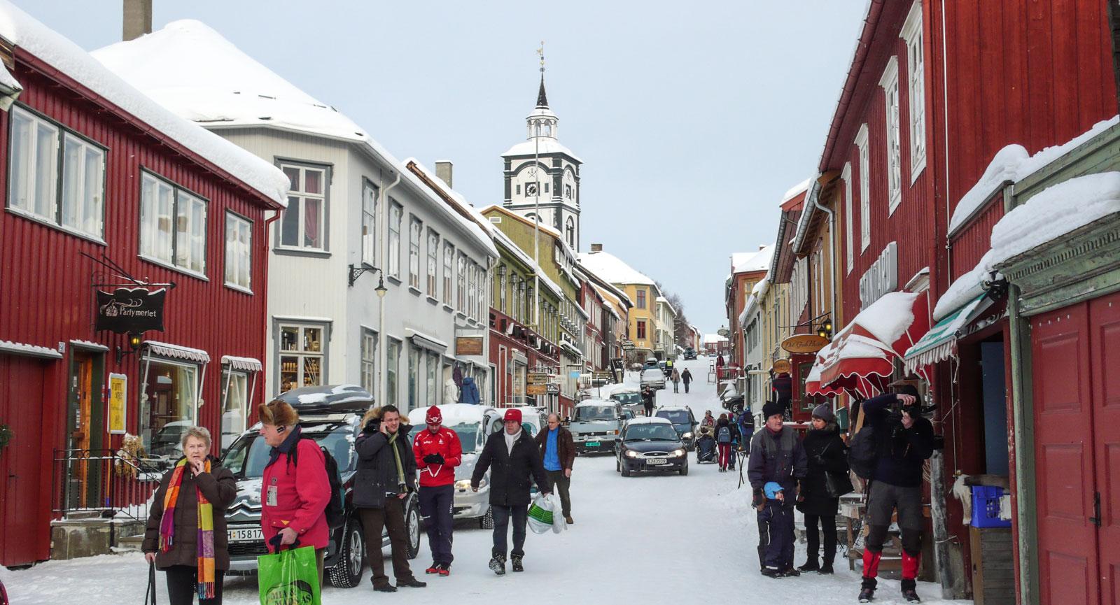 Norska Røros har små hantverksbutiker och mysiga kaféer.