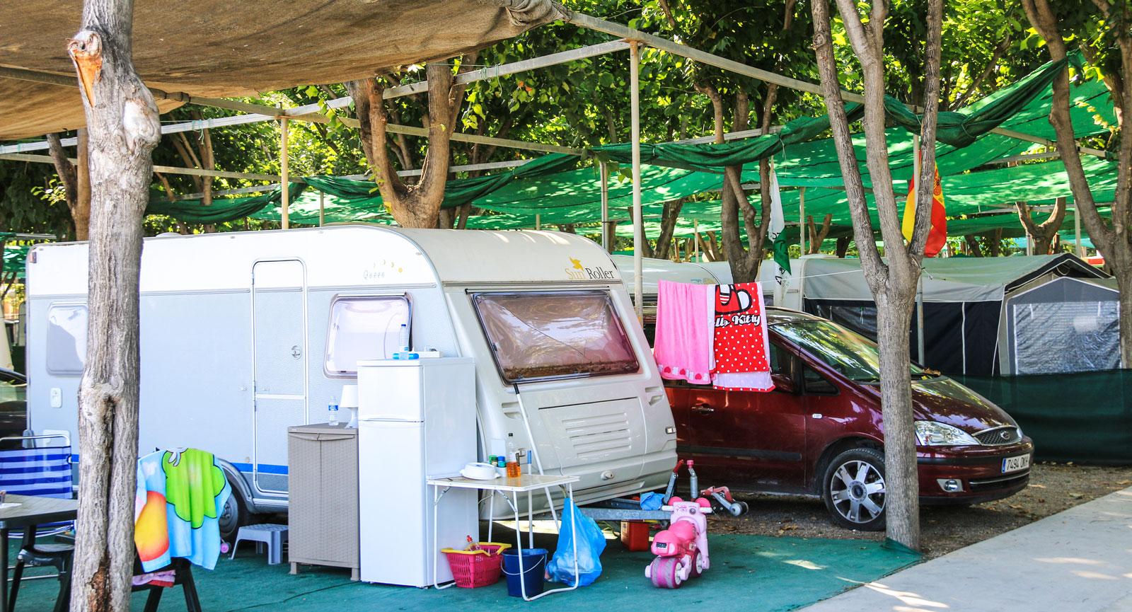 En vanlig syn på campingar utomlands.