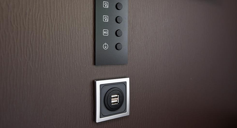 USB-portar finns i sittgruppen men inte 230-voltsuttag.