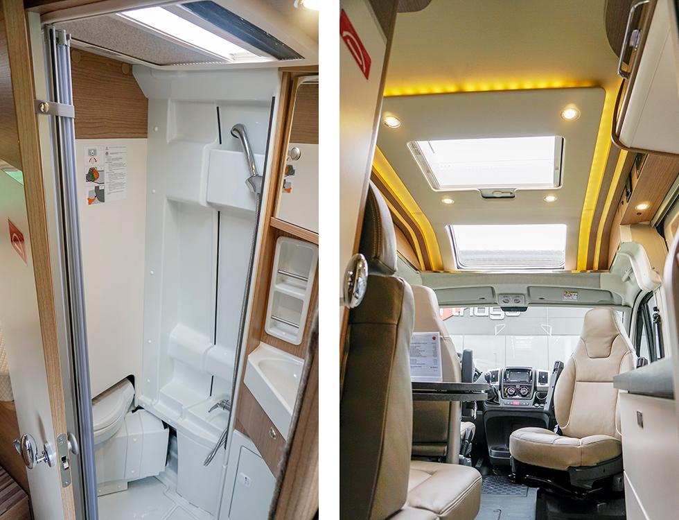 Till vänster: Handfat med smart förvaring i väggen.  Till höger: Charming GT har läcker belysning runt takpanelen och även fyra spottar för mer praktisk belysning.