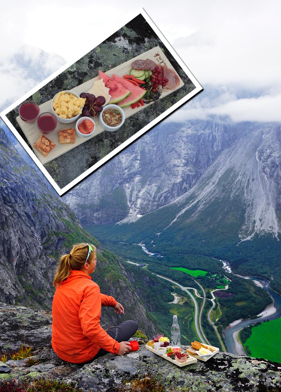 Med Romsdalseggen i sikte. En fjälltur med klar svindelkänsla. Matsäcken från restaurang Aak i Åndalsnes.