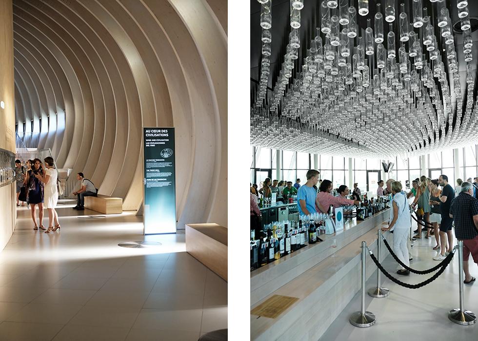 Till vänster: Spännande arkitektur inne i museet. Varje besökare får låna hörlurar.  Till höger: Baren längst upp i La Cite du Vin har en fantastisk utsikt.