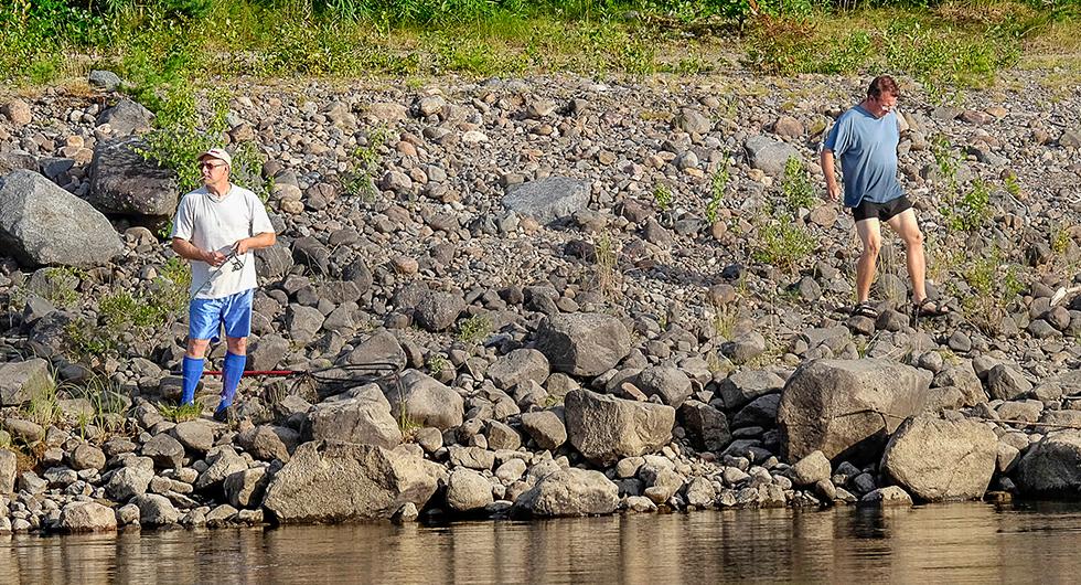 Nedströms förbudskylten är det fritt fram att fiska. Det finns många olika fiskarter att fånga!