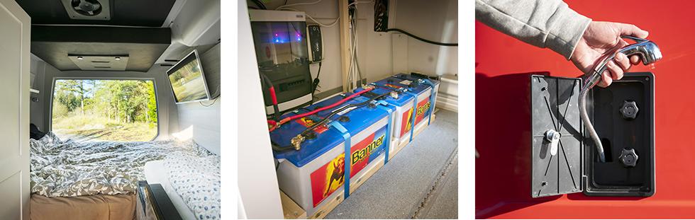 Längst bak finns en dubbelsäng samt en mindre enkelsäng. || De klarar sig utan gasol tack vare batteribanken på 500Ah! || En utvändig dusch för varmt och kallt vatten finns.