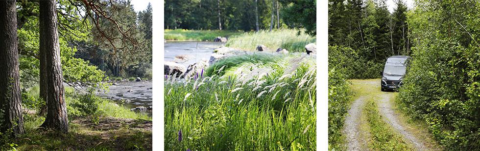 Vackra övernattningsplatser i närheten av Färnebofjärdens nationalpark.    Långt från större samhällen kan man åka in på vilken skogsbilväg som helst.