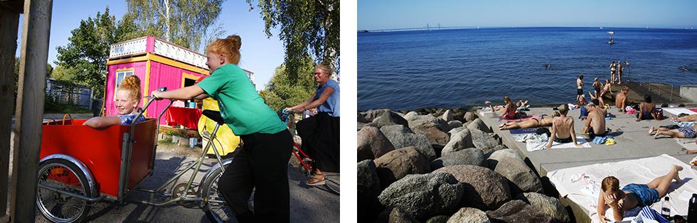 Med hjälp av cyklar tar man sig lätt in till Malmö. ||Med lådcykeln tar man sig snabbt till Västra Hamnen där det finns möjlighet till härliga bad.