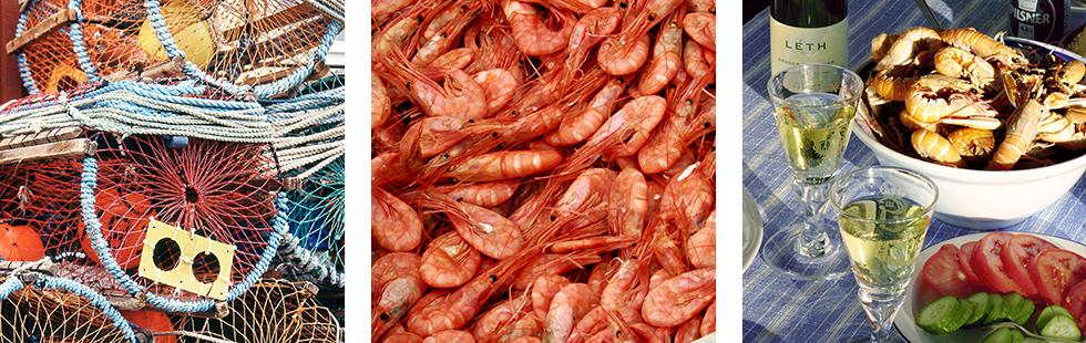 Utanför sjöbodarna ligger nylagade hummertinor. Höstens fiske förbereds i god tid.    Ingen västkustsommar utan räkor. På vissa platser fås de färska i hamnen.   Nykokta havskräftor, sallad, en bit bröd och valfri dryck. Vad kan passa bättre vid ett västkustbesök.