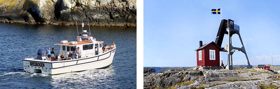 Katamaranen Bredbogen gör skäl för sitt namn. En säker transport ut till Väderöarna.   Tidigare var det en historisk utkik men numer är Väderöarna ett trevligt utflyktsmål.