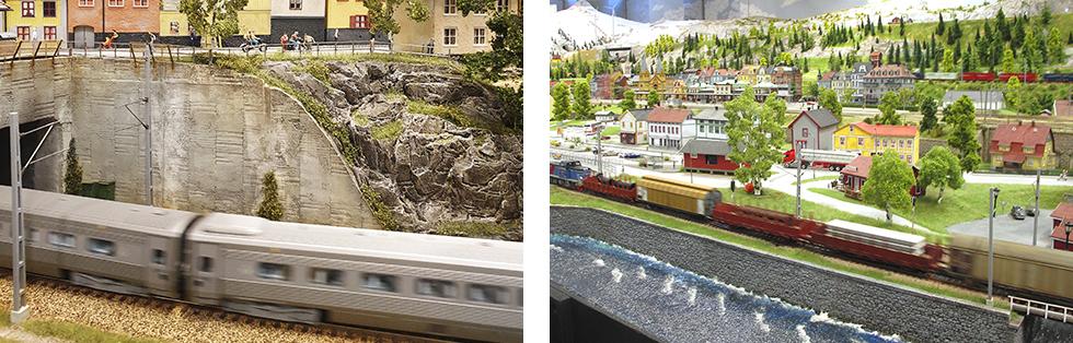 Bygget är i skala 1:87 där räls och tåg är från Roco, NMJ och Jeco. || Över 25 tåg cirkulerar på drygt 550 meter järnvägsspår.