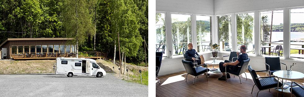 Loungen utifrån sett. Här ryms 60–80 sittande. || Plus i kanten för en trevlig lounge med utsikt över nejden.