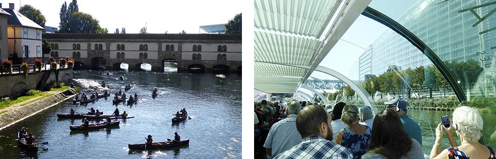Barrage Vauban,  byggt på 1600-talet, skulle skydda mot en attack genom att översvämma områden söder om Strasbourg. || Utflyktsbåtarna tar en avstickare från centrala staden ut till Europaparlamentet.