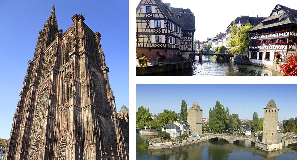 Katedralen som dominerar stadsbilden i Strasbourg, ett mästerverk som det tog över 400 år att bygga. || Petite France, Strasbourgs mest pittoreska stadsdel. I bakgrunden leder en svängbro över kanalen. || Från fästningsverket Barrage Auban har man utsikt över inloppet till Petite France, den medeltida stadsdelen i korsvirke.