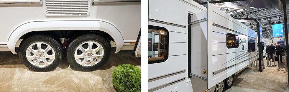 Dubbla axlar behövs sannerligen för att bära 3,5 ton. || Slide-out ger massor av rymd i en redan rymlig husvagn.
