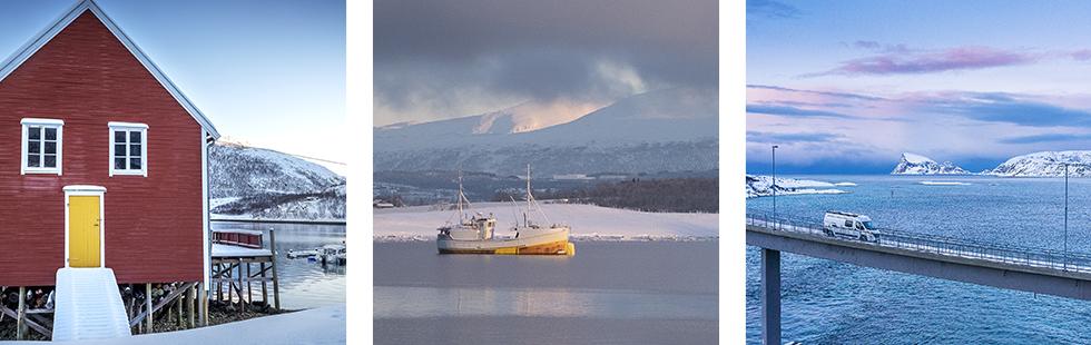 Ett båthus eller liknande på höga styltor. Husen är väl ompysslade. ||En fiskebåt ligger på svaj i Balsfjorden.