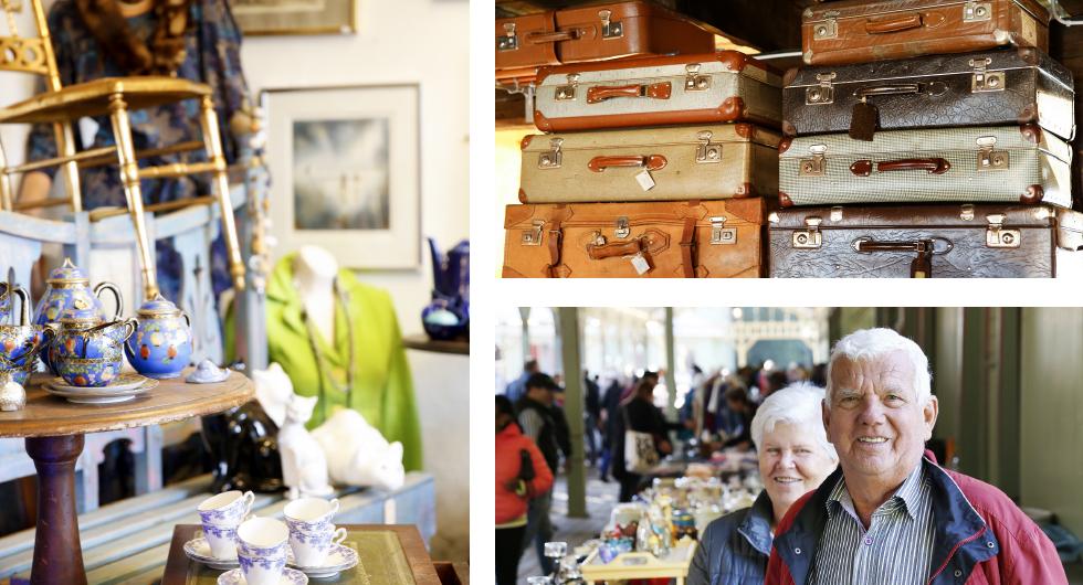 Flera av landets loppisar bjuder på ett riktigt bra utbud. || Resväskor i mängder. || Karl-Erik och Britta Karlsson från Växjö besöker ofta Ronneby Brunnsloppis.