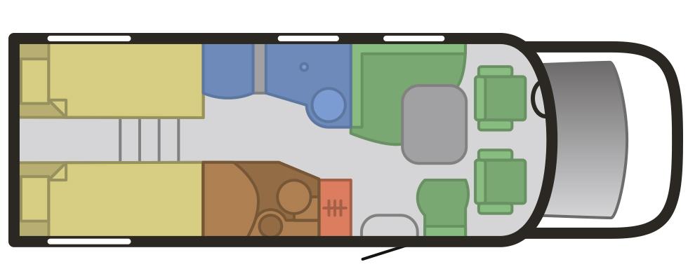 Planritning för Hymer Tramp 674 Alde.