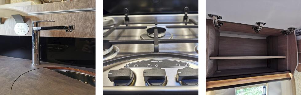 Hög kökskran och djup diskho ger plats att fylla stor kastrull. || Häll av gjutjärn ger kastruller som står stadigt på stabilt underlag. || Rejäla överskåp med inbyggda hyllor och tre gångjärn.