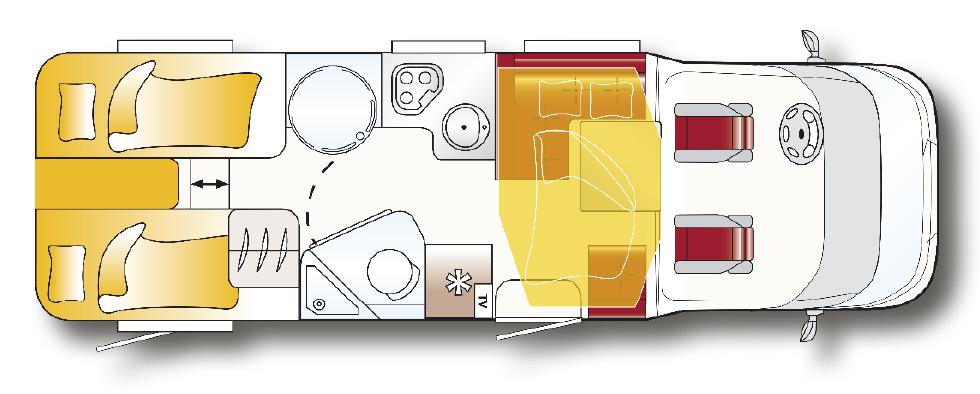 Planritning för LMC Breezer Lift H737G.