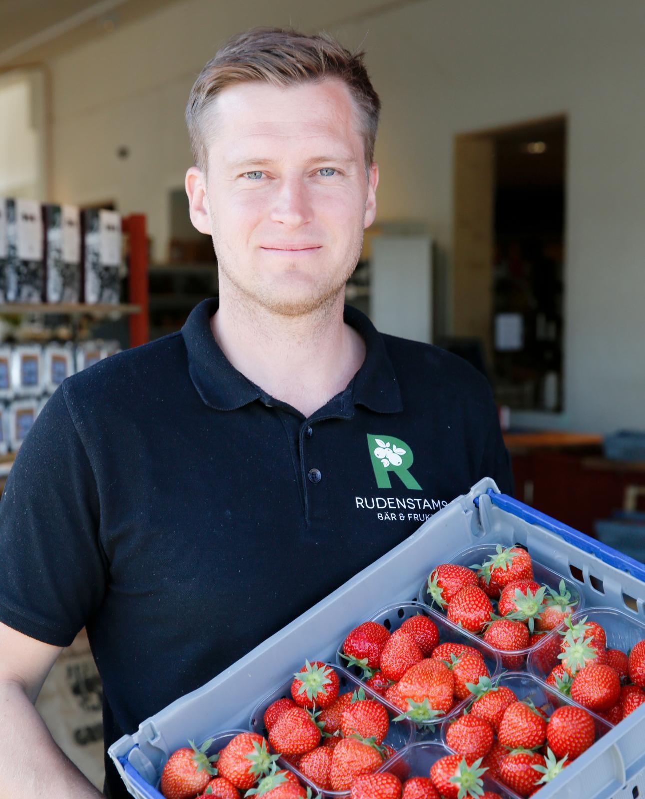 David Rudenstam odlar jordgubbar i krukor och säljer söta delikatesser till besökare från när och fjärran.