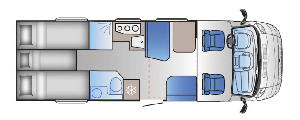 Planritning för Sun Living S 75 SL.