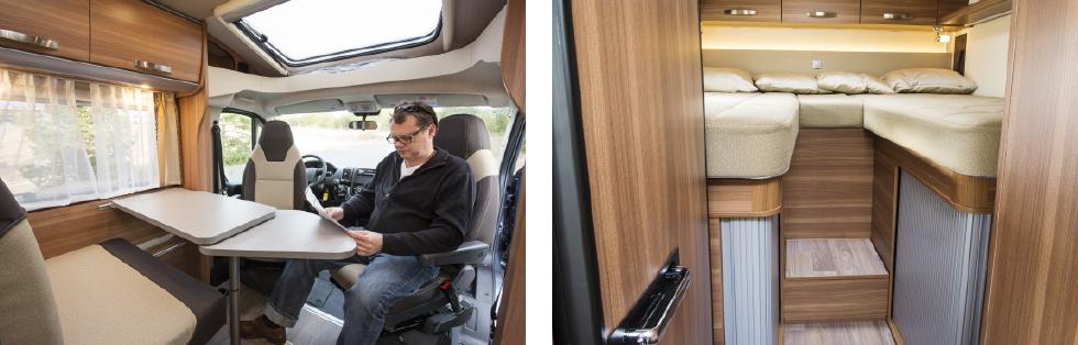 Vägghängt bord med förlängningsskiva. Takfönster ger ljus. || Höga långbäddar ger gott om förvaring undertill.