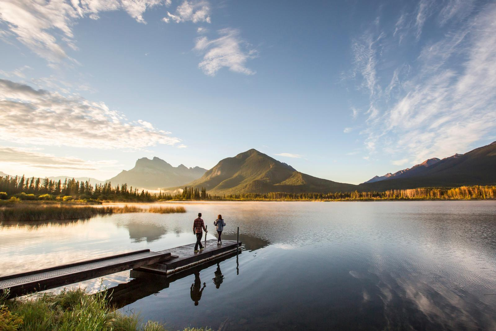 Strålande utsikter och mäktiga landskap i Bannfs nationalpark. Ett stopp Marcela och Nicholas ser fram emot.