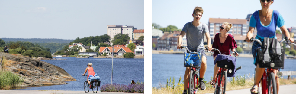 Fantastiska cykelvägar längs havsbandet. ||Härliga cykelvägar fri från annan trafik.