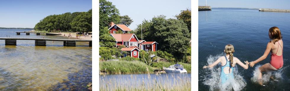 Saltö Badplats. En favorit i Karlskrona. || Missa inte pittoreska Brändaholm bara ett stenkast från Fisktorget. ||Barnen älskar pauserna vid havet. Bada måste man – annan dör man.