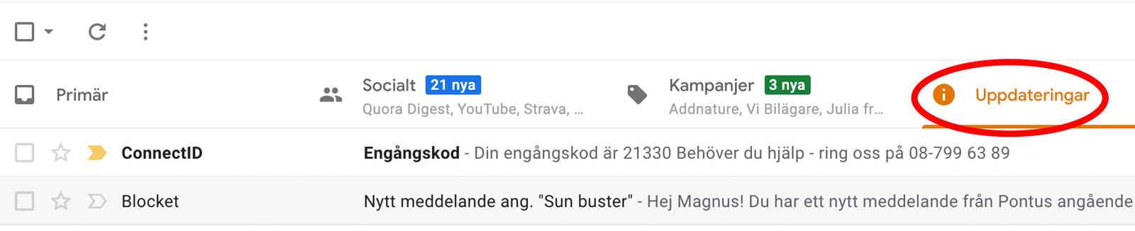 """Din engångskod för att skapa användaren kommer antingen med SMS eller epost – beroende på vad du väljer. Om du väljer epost, notera att i exempelvis Gmail landar den undre fliken """"Uppdateringar""""."""