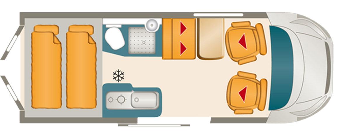 Karmann Dexter 560 har en planlösning som är typisk för en 6-metersplåtis. Längre plåtisar har ofta bäddar på längden.