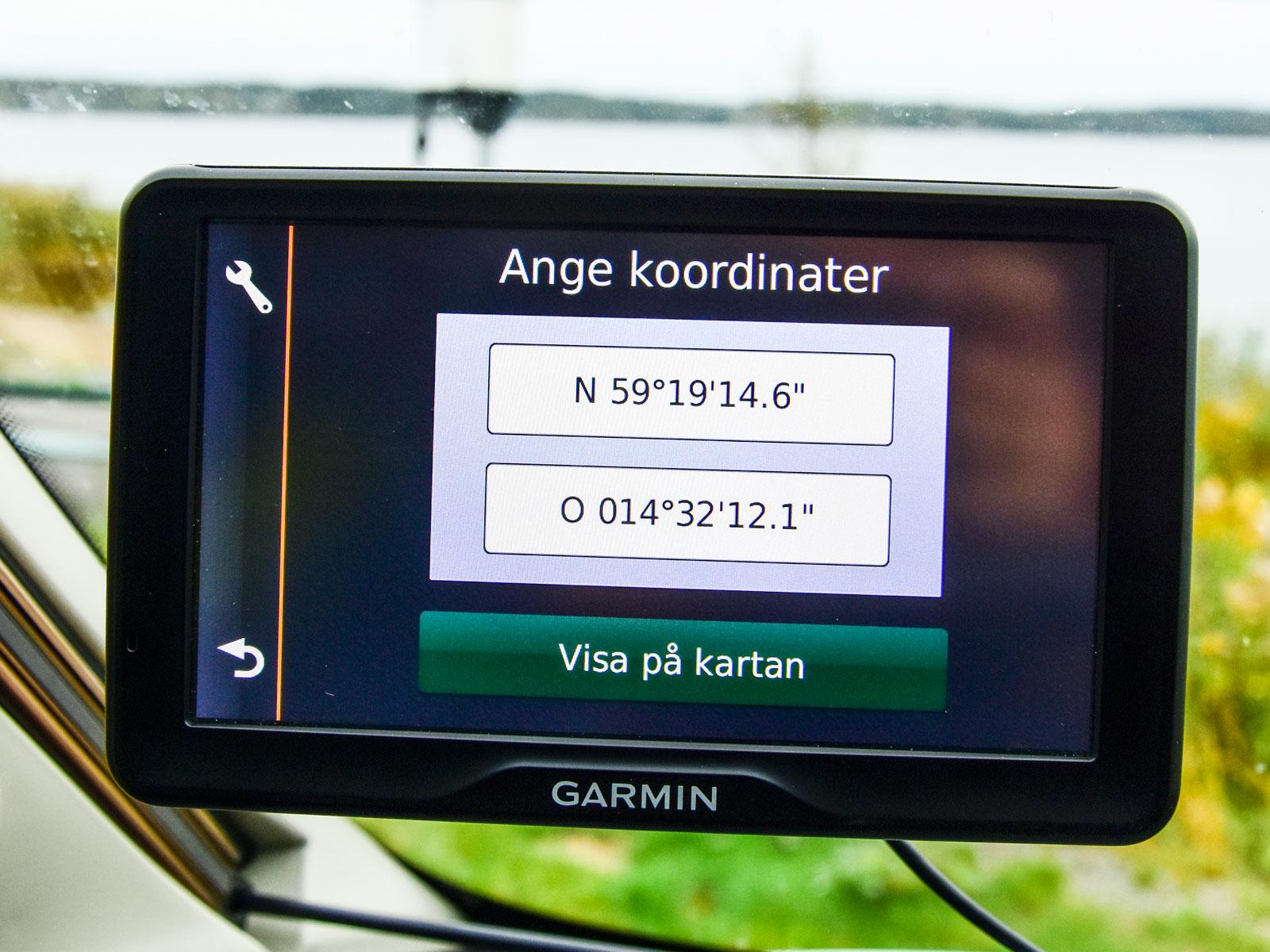 Här skrivs koordinaterna i grader, minuter och sekunder.