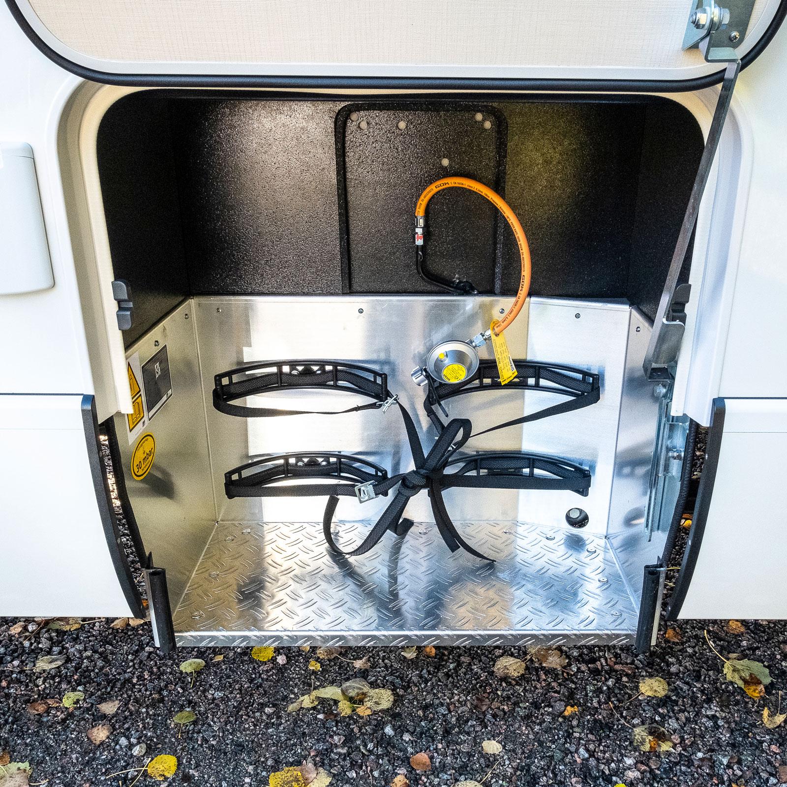 Föredömligt utformat och lättarbetat gasolfack.