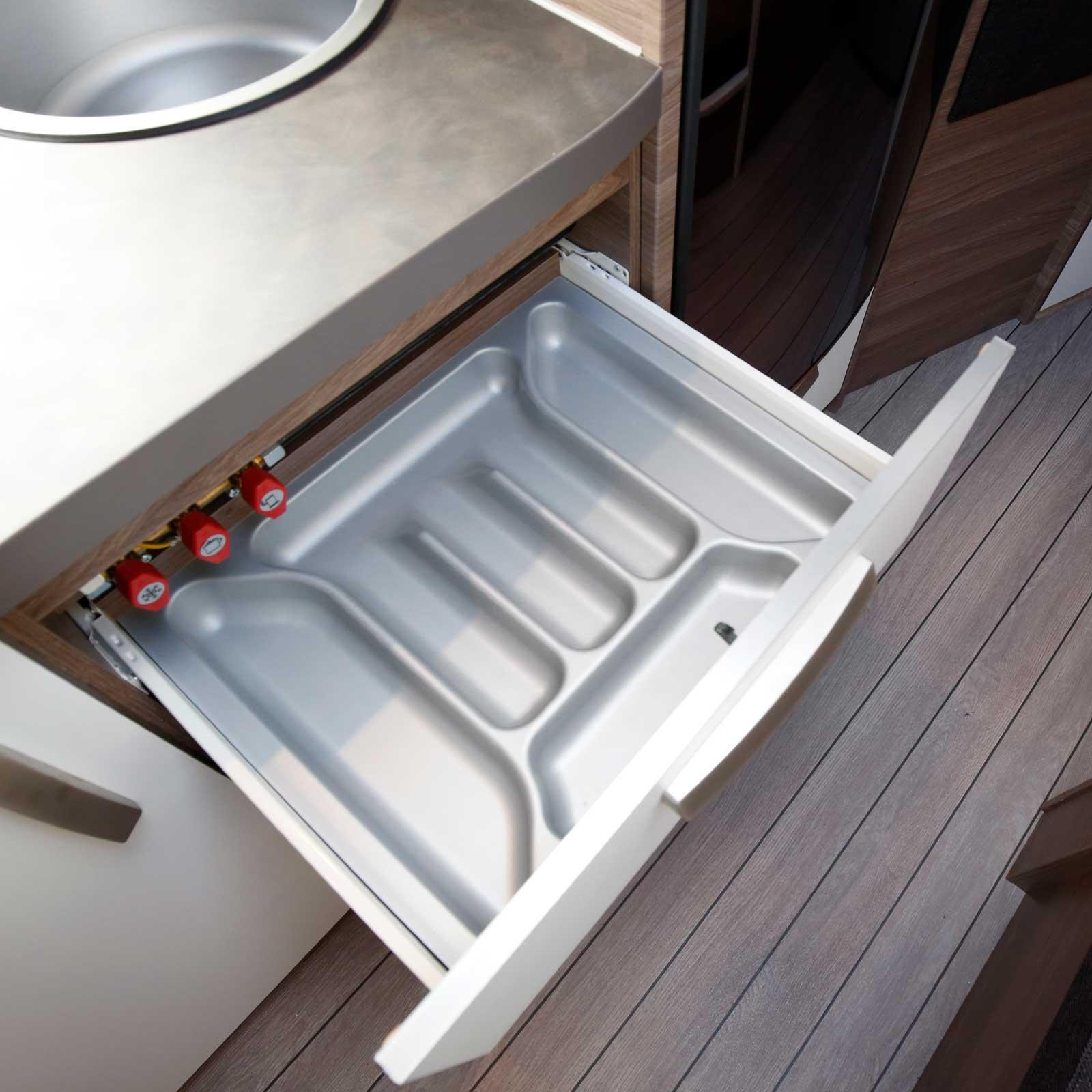 Besticklåda är en nödvändighet i ett komplett husvagnskök.