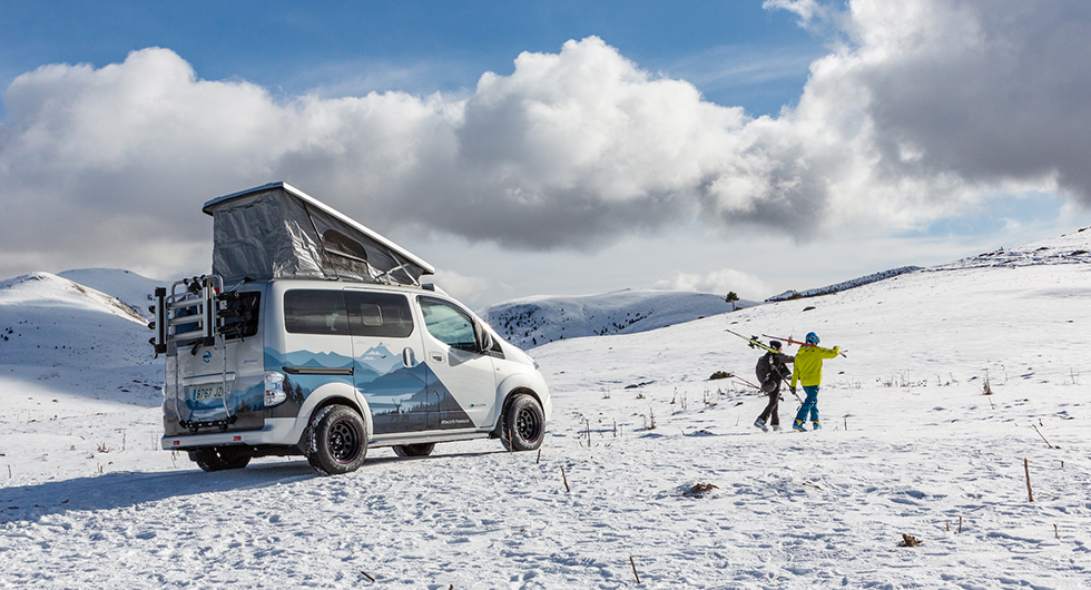 Nissan e-NV200 Winter Camper en plåtis för vinterexpeditioner