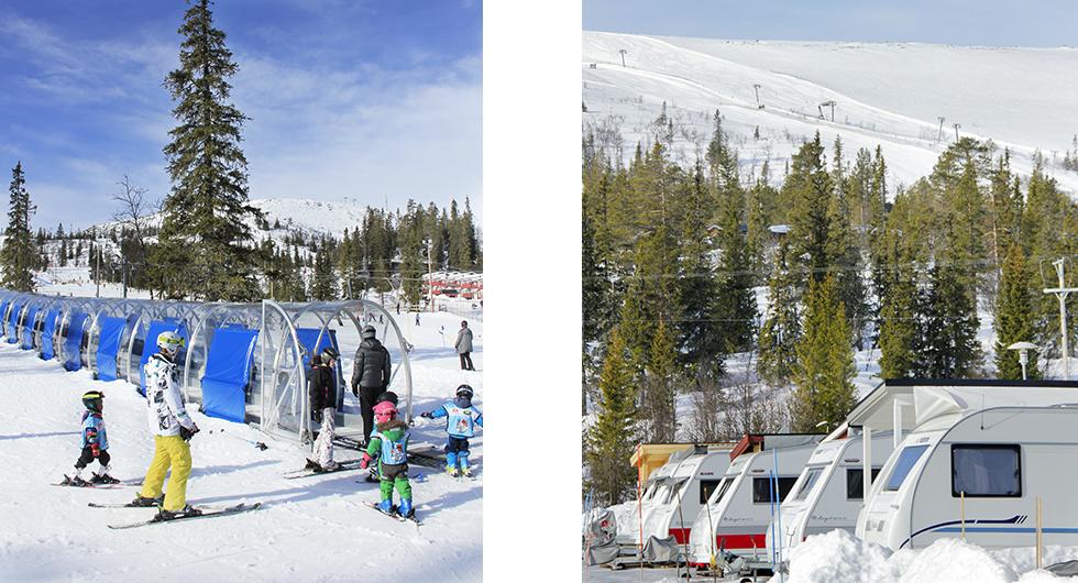 Till vänster: Barnvänligt – i Vemdalen har barnfamiljerna ett eget skidområde. Till höger: Pistnära – campingen i Storhogna ligger nära både pister och spår, smidigt var ordet.