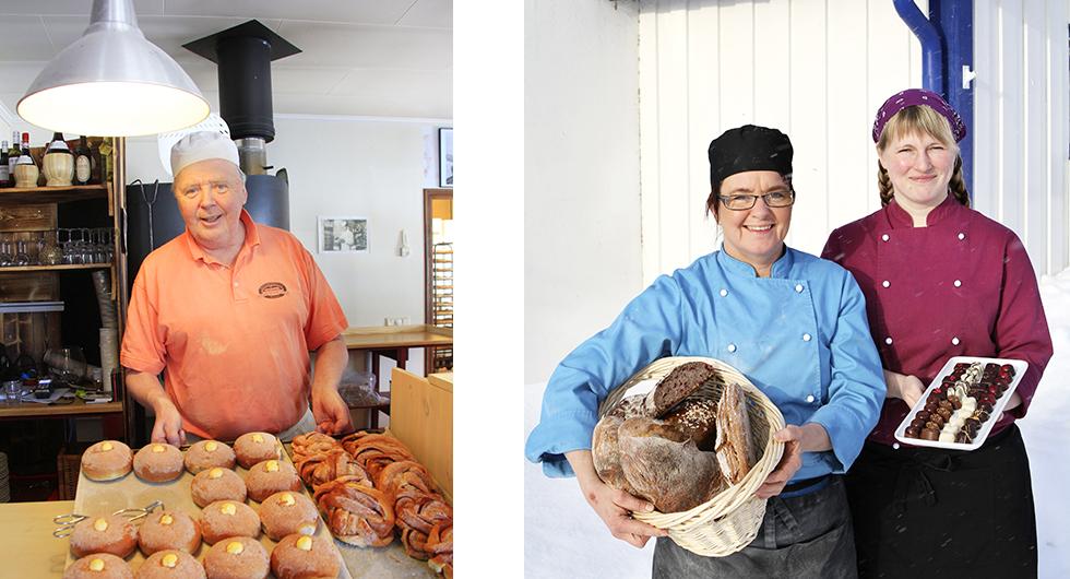 Till vänster: Nybakat. Hos Rolf Carlsson är smörbullarna populärast. Till höger: Stensäkert. Nathalie Persson och Erika Dillner bakar både bröd och pizza i stenugn.